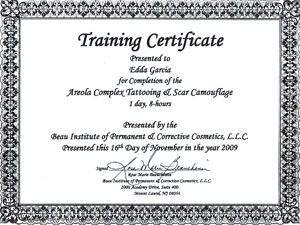 Beau Institute Certificate Areola Complex Tattooing & Scar Camouflage