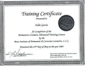 Beau Institute Certificate Permanent Cosmetic Advanced Training Course