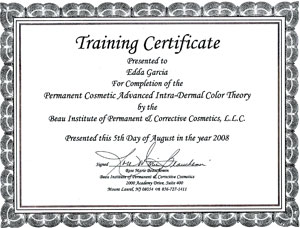 Beau Institute Certificate