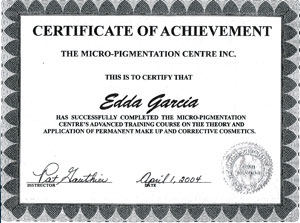 Micro-Pigmentation Center Inc, Certificate of Achievement